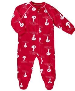Philadelphia Phillies Baby Red Raglan Zip Up Sleeper Coverall