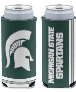 Michigan State Spartans 12 oz Green Slim Can Koozie Holder