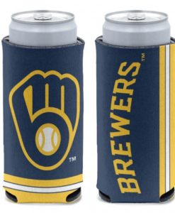 Milwaukee Brewers 12 oz Blue Slim Can Koozie Holder