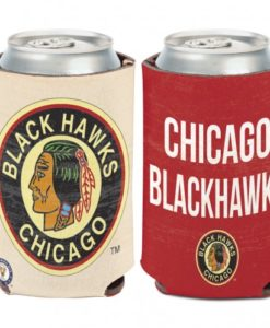 Chicago Blackhawks 12 oz Red White Vintage Can Koozie Holder
