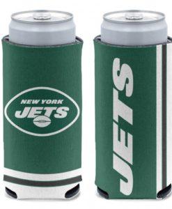 New York Jets 12 oz Green Slim Can Koozie Holder