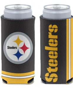 Pittsburgh Steelers 12 oz Black Slim Can Koozie Holder