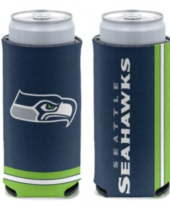 Seattle Seahawks 12 oz Blue Slim Can Koozie Holder