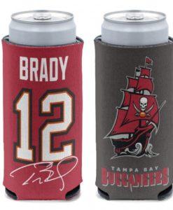 Tampa Bay Buccaneers Tom Brady 12 oz Red Slim Can Koozie Holder