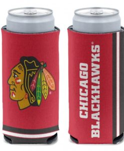 Chicago Blackhawks 12 oz Red Slim Can Koozie Holder