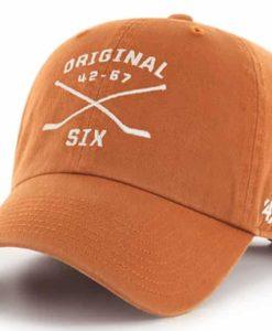 Original Six 47 Brand Burnt Orange Clean Up Crossing Sticks Adjustable Hat