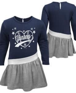 New York Yankees Baby Girls Navy Gray Diamond Dress